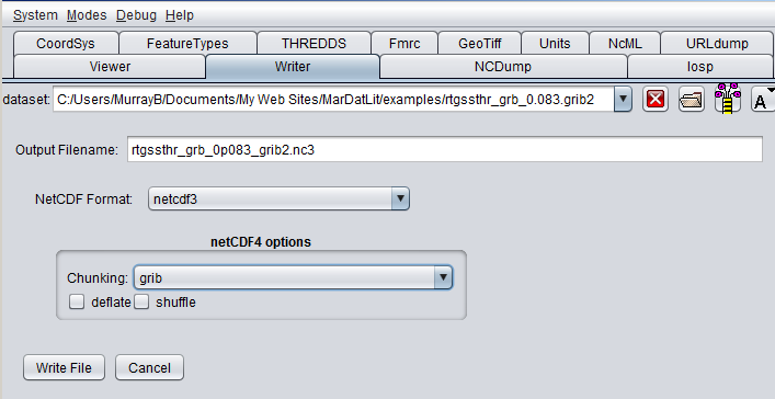 Convert GRIB Format to NetCDF with ToolsUI from UNIDATA