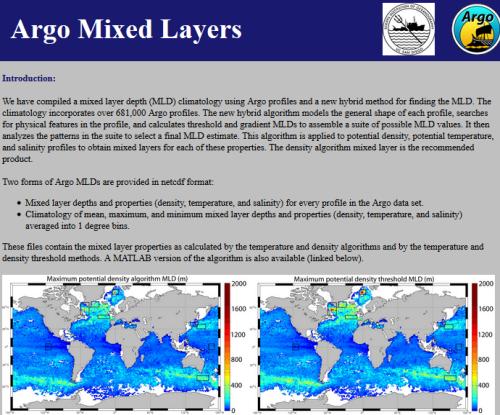 Adding UCSD/Scripps/Argo Mixed Layer Depths to Maps in Saga