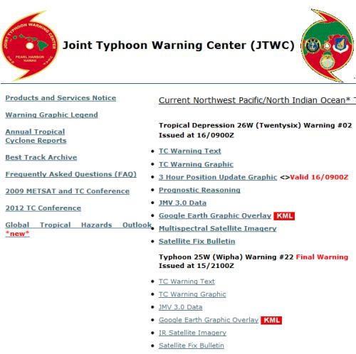 Plotting Western Pacific/Indian Ocean Typhoons Paths in Google Earth ...